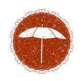 Vintage sign with umbrella — Vector de stock