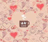 Wedding invitation, card for Valentine Day with bird couple in cup — Stockvektor