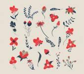 Hand drawn floral retro — Stock Vector