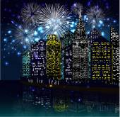 Happy new year with firework city at night — Vetor de Stock