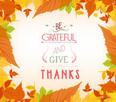Happy thankgiving with leaves greeting card — Stock Vector