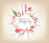 Happy Thanksgiving florals wreath Colors — Stock Vector