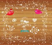 Happy valentine card with bird — Stock Vector