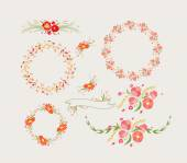 Holiday floral designs, wreaths, ribbons — Stock Vector