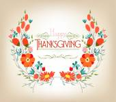 Floral background thanksgiving greeting card — Stock Vector
