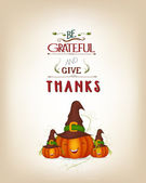 Grateful and thanksgiving greeting card — Stock Vector