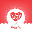Happy valentine day with flower heart — Stock Vector #62256621