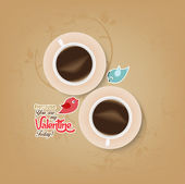 Couple cup of coffee with valentines day — Stock Vector