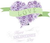 Florals heart happy valentines romantic — Stock Vector