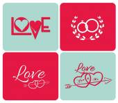 Happy valentines day cards with ornaments — Vector de stock