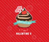 Happy valentines day cupcake sweet love — Vector de stock