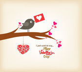 Happy valentines day greeting card with bird — Stockvektor