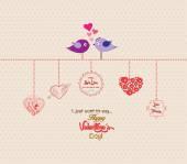 Happy valentines day romantic couple bird — Stock Vector