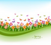 Spring banners with flower colorful and blue sky — Stock Vector