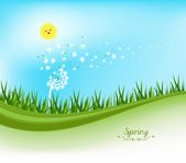 Spring banners with dandelion and blue sky — Stock Vector