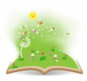 Spring with dandelion in the book — Stock Vector