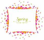 Spring with flower and butterfly colorful banner — 图库矢量图片