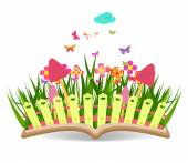 Spring with grass and flowering in the book — Stock Vector
