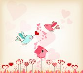 Valentines day background with birdhouse — Stock Vector