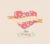 Valentine's Day background with heart flower — Stock Vector