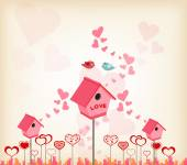 Valentines day background with lovely birdhouse — Stock Vector