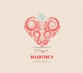 Valentines day card with heart ornament — Stockvektor