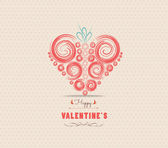 Valentines day card with heart ornament — Vettoriale Stock