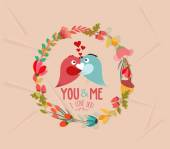 Valentines day cute retro flowers wreath and bird — Stock Vector