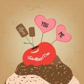 Valentines day cupcake sweet love you and me — Stock Vector