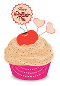 Valentines day cupcake and heart — Stock Vector