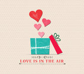 Valentine's Day love is in the air with open gift — Vector de stock