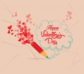Valentines day with pencil drawing bubble card — Stock Vector