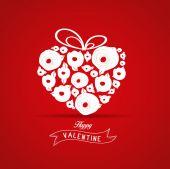 Valentines gift heart flower rose — Stock Vector