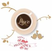 Vintage valentines cup of coffee with love — Stock Vector