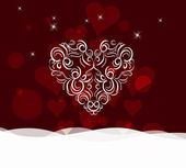 Background with ornament heart by valentines day — Vector de stock