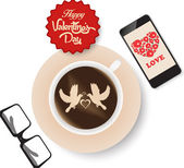 Valentines day coffee and all you need is love — Stock Vector