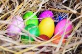 Coloridos huevos de pascua en el nido — Foto de Stock
