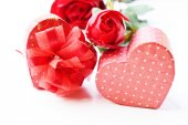 Valentines Day gift in silver box — Stock Photo