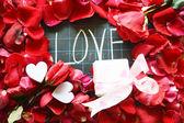 Happy Valentines day! text on blackboard — Stock Photo