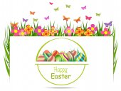 Easter egg spring with grass — Stock Vector
