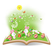 Easter egg and bunny funny spring — Stock Vector