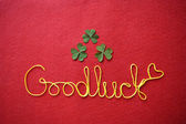 Good luck ribbon greeting carg — Stock Photo