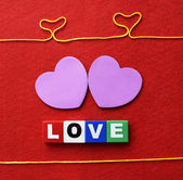 Love sign and two hearts — Stock Photo
