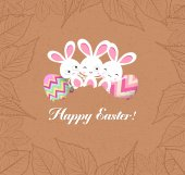 Happy easter eggs and bunnys with leaves greeting card — Vector de stock