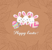 Happy easter eggs and bunnys with leaves greeting card — Stockvector