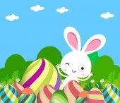 Cute Bunny Easter eggs — Stock Vector