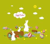 Easter bunny family — Stock Vector