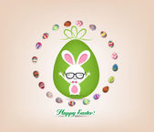 Easter bunny surrounded by eggs — Stock Vector