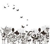 Grass and butterflies black silhuette — Stock Vector