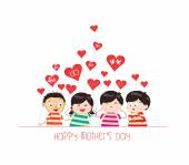 Happy mother day with kid funny — Stockvektor